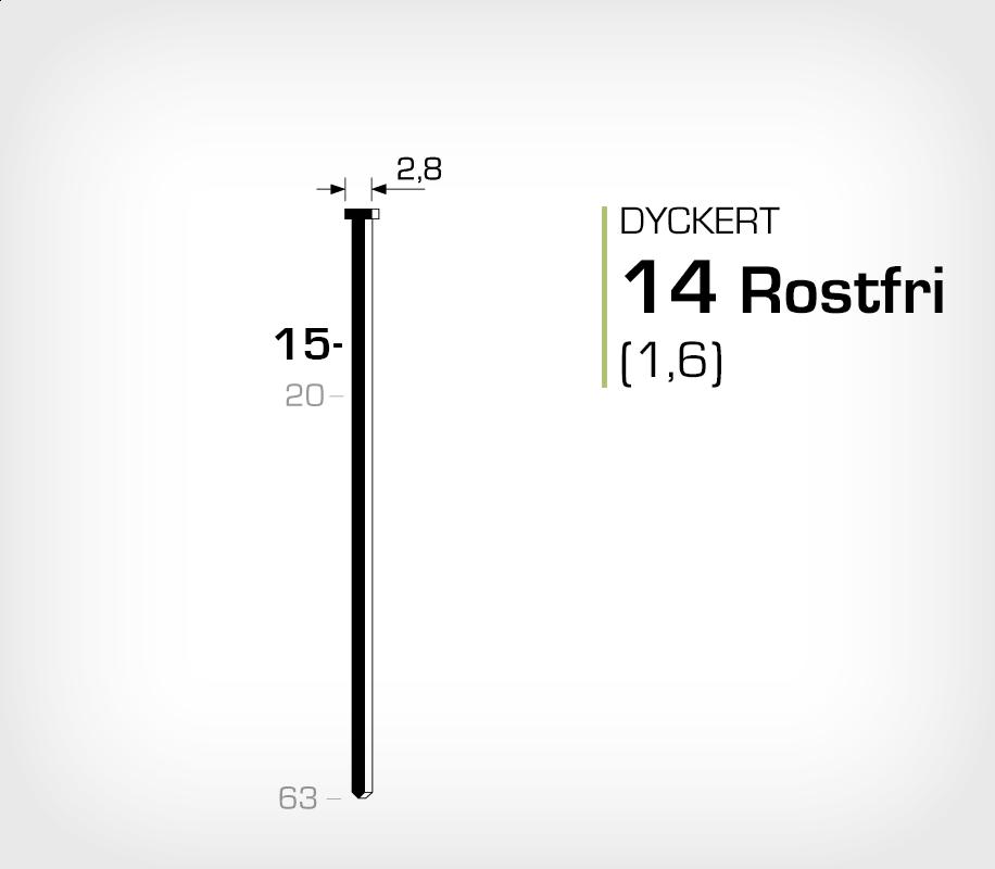 Rostfri dyckert 14/15 SS (SKN 16-15 SS)