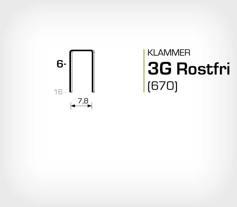 Klammer 3G/6 SS Rostfri (670-06 SS)