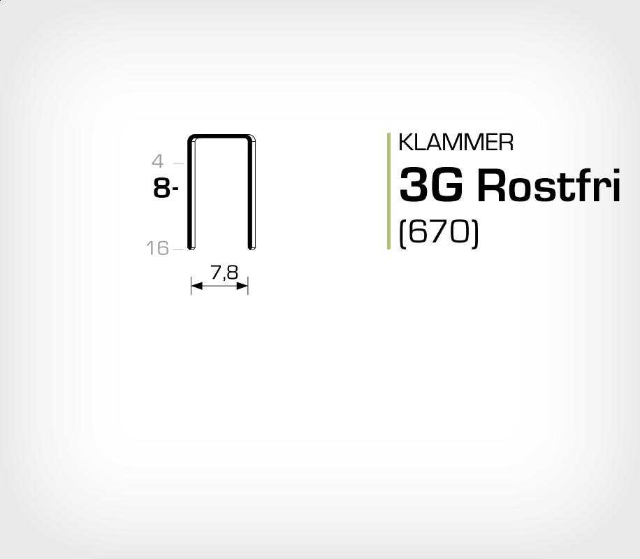 Klammer 3G/8 SS Rostfri (670-08 SS)