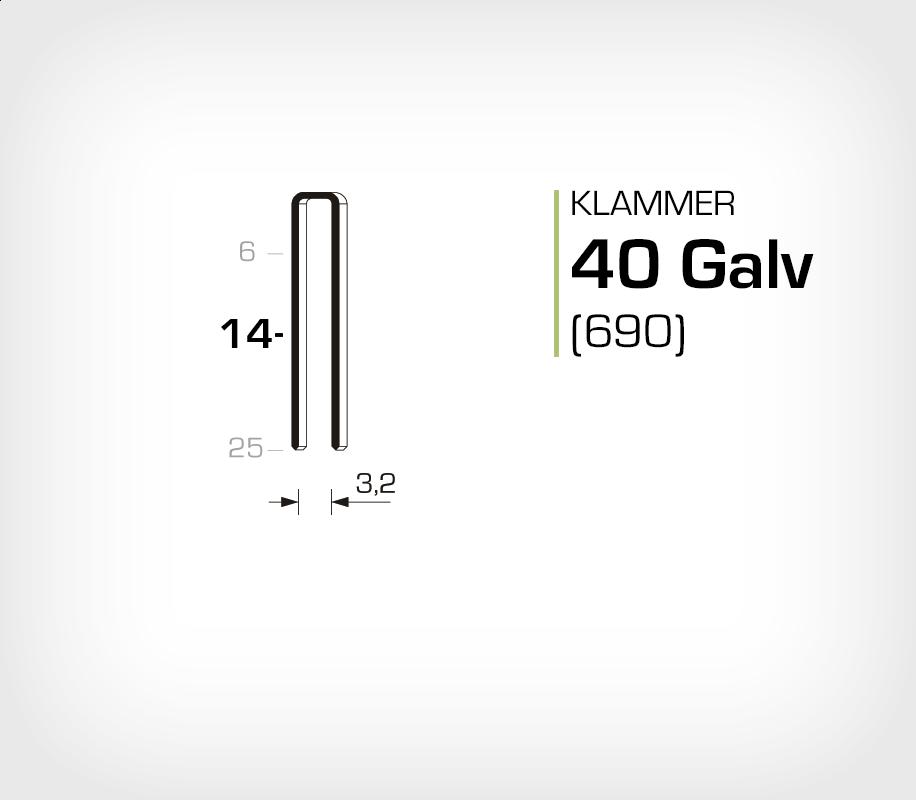 Klammer 40/14 Elförzinkad Galv (690-14)