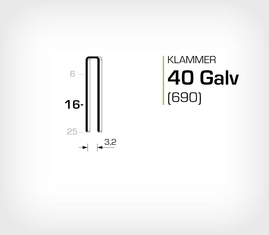 Klammer 40/16 Elförzinkad Galv (690-16)