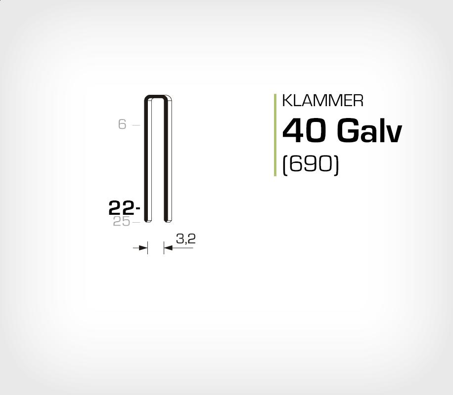 Klammer 40/22 Elförzinkad Galv (690-22)