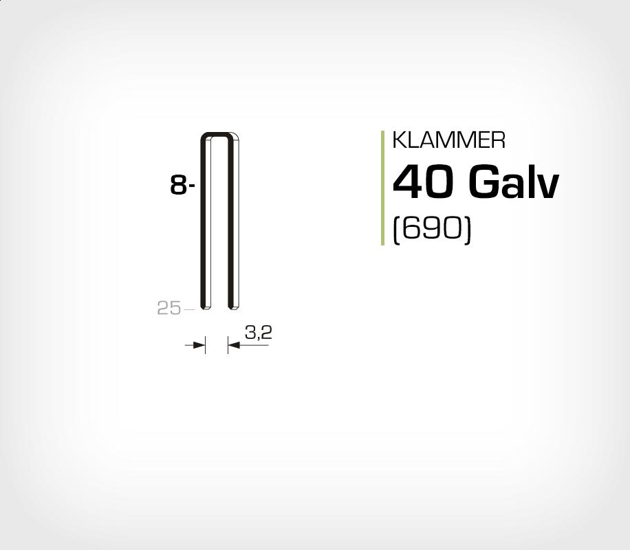 Klammer 40/8 Elförzinkad Galv (690-08)