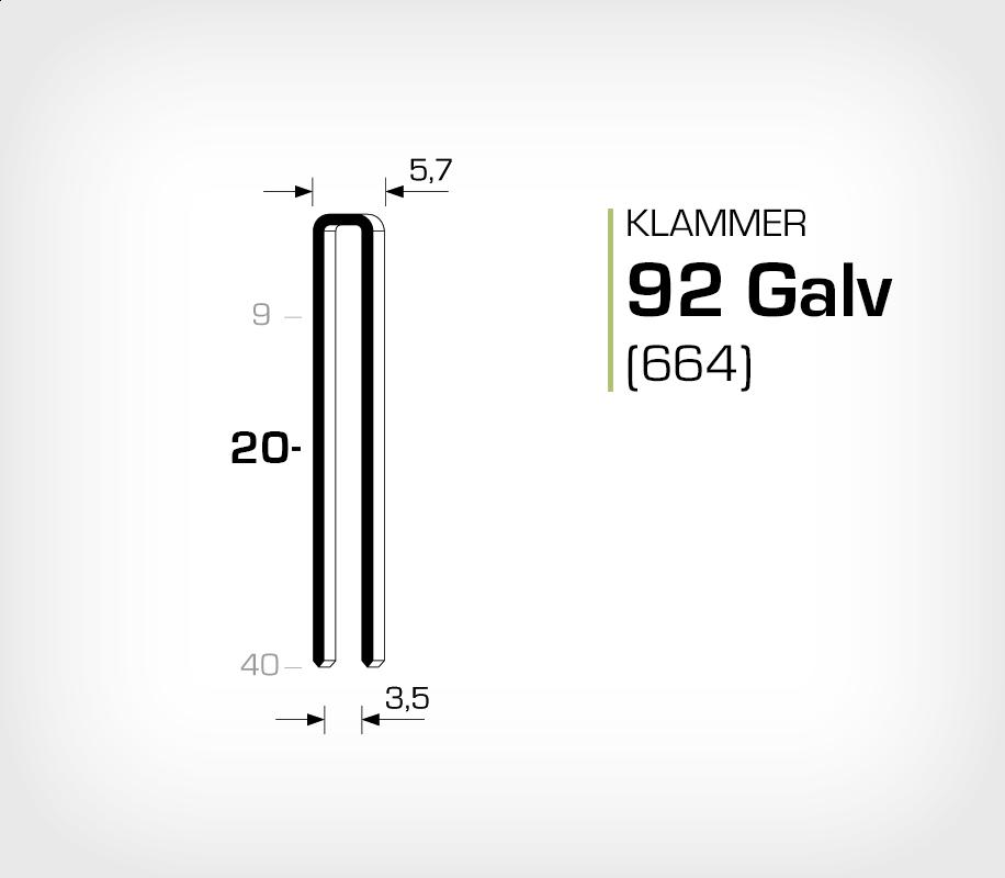 Klammer 92/20 Galv - Elförzinkad (664-20)