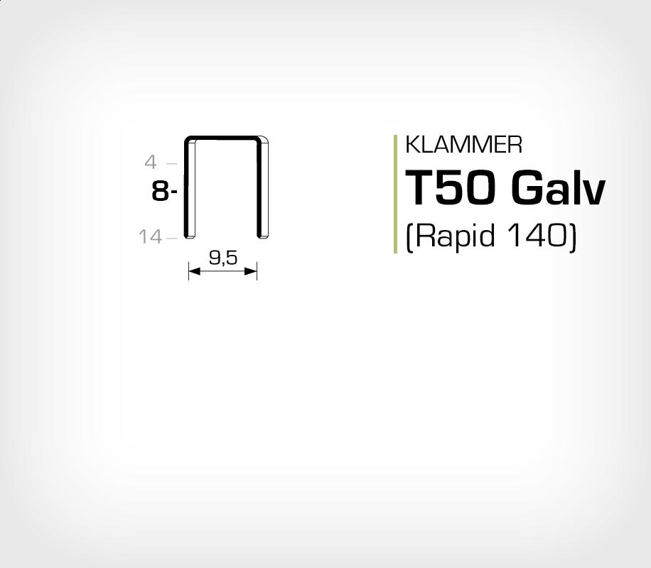 Klammer T50/8 Galv (140-8) - OMER